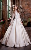 Ball Gown Long Jewel Long-Sleeve Illusion Satin Dress With Appliques And Waist Jewellery