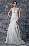 Exquisite Sleeveless All-over Lace and Satin Mermaid Silhouette Wedding Gown