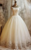 Gorgeous Short Sleeve Lace Wedding Dresses 2016 Ball Gown With Appliques