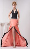 Two-Tone Floor-Length Front-Split Halter and Dress With Beading