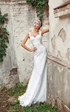 Sheath Long Straps Sleeveless Corset-Back Lace Dress