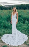 Trumpet Mini V-Neck Sleeveless Bell Appliques Court Train Backless Tulle Lace Dress