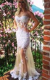 Sexy White Tulle Mermaid Evening Dresses Bateau Sleeveless Prom Gowns
