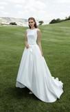 High-low Bateau Sleeveless Illusion Back Satin Dress With Bow