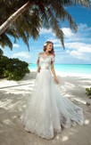Mermaid Long Off-The-Shoulder Cap-Sleeve Lace-Up Lace Dress With Sash And Appliques