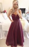 Modern A-line Beadings Burgundy Prom Dress 2016 Zipper Button Back