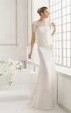 Jewel-Neck Graceful Dress With Chiffon Side Ruffled Jacket