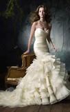 Elegant Pleated Bodice Ruffled Satin Organza Dress With Tiers