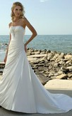 New Arrival a Line Strapless Court Train Elastic Woven Satin Wedding Dress