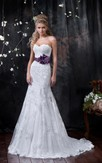 A-Line Floor-Length Sweetheart Sleeveless Corset-Back Lace Dress With Appliques And Flower