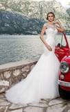 Trumpet Floor-Length Jewel-Neck Cap-Sleeve Corset-Back Tulle Dress With Appliques