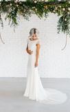 Bateau Neck Lace Cap Sleeve Column Satin Gown With Deep-V Back