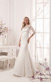 Lace Long Sleeve Bow Floor Length Sheath Dress
