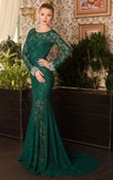 Mermaid Court Train Jewel Long Sleeve Lace Beading Pleats Keyhole Dress