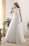A-Line Long High-Neck Sleeveless Illusion Tulle Dress With Appliques