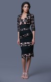 Glam Striped Lace and Chiffon Formal Knee-length Dress With Lace Jacket