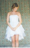 Simple Tiered Tulle High-Low Strapless A-Line Dress With Ruffles