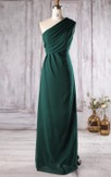 Single Strap A-line Chiffon Floor Length Dress With Ruching