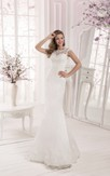 A Line Scalloped Neckline Long Sleeve Lace Top Tulle Dress with Crystal Detailing And Long Train
