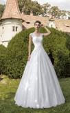 A-line  V-neck Keyhole Back Lace Dress With Crystal Detailing