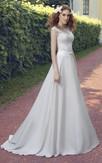 A-Line Long Scoop-Neck Cap-Sleeve Corset-Back Chiffon Lace Dress