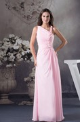 Pastel Ruched Floor-Length Chiffon Sleeveless Stress and Dress With Flower