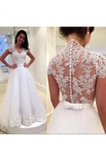 Dreamy Cap Sleeve Lace 2016 Wedding Dress Zipper Button Back Bridal Gowns