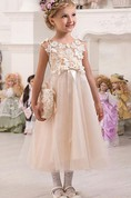 Flower Girl Illusion Neck Cap Sleeve Tulle Midi Dress With Bow