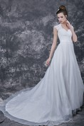Femme Sweetheart Cap-sleeved Lace and Organza A-line Wedding Gown With Keyhole Back