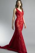 Mermaid Court Train V-neck Sleeveless Lace Low-V Back Dress