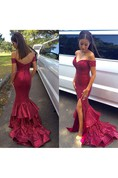 Glamorous Sequined Mermaid Ruffles 2016 Prom Dress Front Split Off-the-shoulder