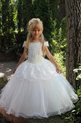 Flower Girl Off-the-shoulder Tulle Ball Gown With Lace