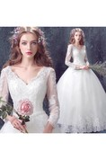 Romantic Lace Tulle Ball Gown Wedding Dress 2016 3-4-Long Sleeve
