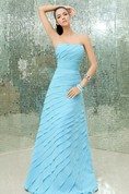 Empire Strapless A-Line Chiffon Gown With Sequined Waist and Ruchings
