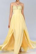Chic A-line Strapless Beadings Floor-Length Prom Dress