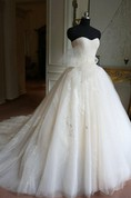 Ball Gown Floor-Length Sweetheart Sleeveless Bell Bow Appliques Zipper Keyhole Tulle Lace Dress