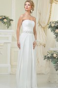 A-Line Long Strapless Sleeveless Lace-Up Chiffon Dress With Ruching And Beading