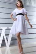 Adorable Short-Sleeve Midi Chiffon Dress With Ruching