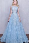 Bateau Neck Appliques Lace Long Prom Dress