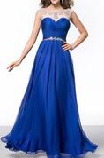 Elegant A-Line Floor-Length Sheer Neck Prom Dress