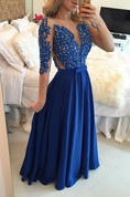 Delicate Chffion Royal Blue 2016 Prom Dress Lace Appliques Half Sleeve