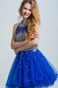 Jewel Neck Beading Open Back Short Prom Dress