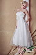 Backless Strapless A-line Tea-length Wedding Dress