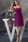 Spaghetti Straps Knee Length A-Line Criss Cross Chiffon Gown With Zipper Back