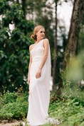 One-Shoulder A-Line Chiffon Dress With Lace Bust and Removable Cape