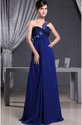 One-Shoulder Chiffon Maxi Ruched Dress With Flower