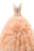 Ball Gown Floor-Length Sweetheart Sleeveless Beading Appliques Ruffles Organza Dress