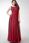 Gorgeous Cap-sleeved Long Chiffon Dress with Lace-embellished Bodice