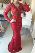 Stunning Long Sleeve Lace Evening Dress 2016 Pearls Mermaid Prom Gown