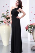One-Shoulder Chiffon Ruched Floor-Length Dress